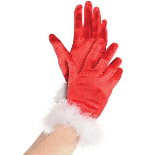 Adults Mrs Claus Gloves Christmas Fancy Dress